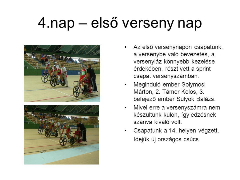 4.nap – első verseny nap Az első versenynapon csapatunk, a versenybe való bevezetés, a versenyláz könnyebb kezelése érdekében, részt vett a sprint csapat versenyszámban.
