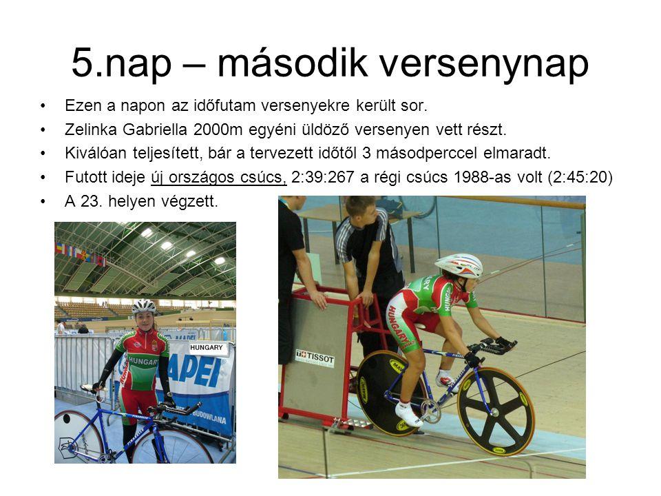 5.nap – második versenynap Ezen a napon az időfutam versenyekre került sor. Zelinka Gabriella 2000m egyéni üldöző versenyen vett részt. Kiválóan telje