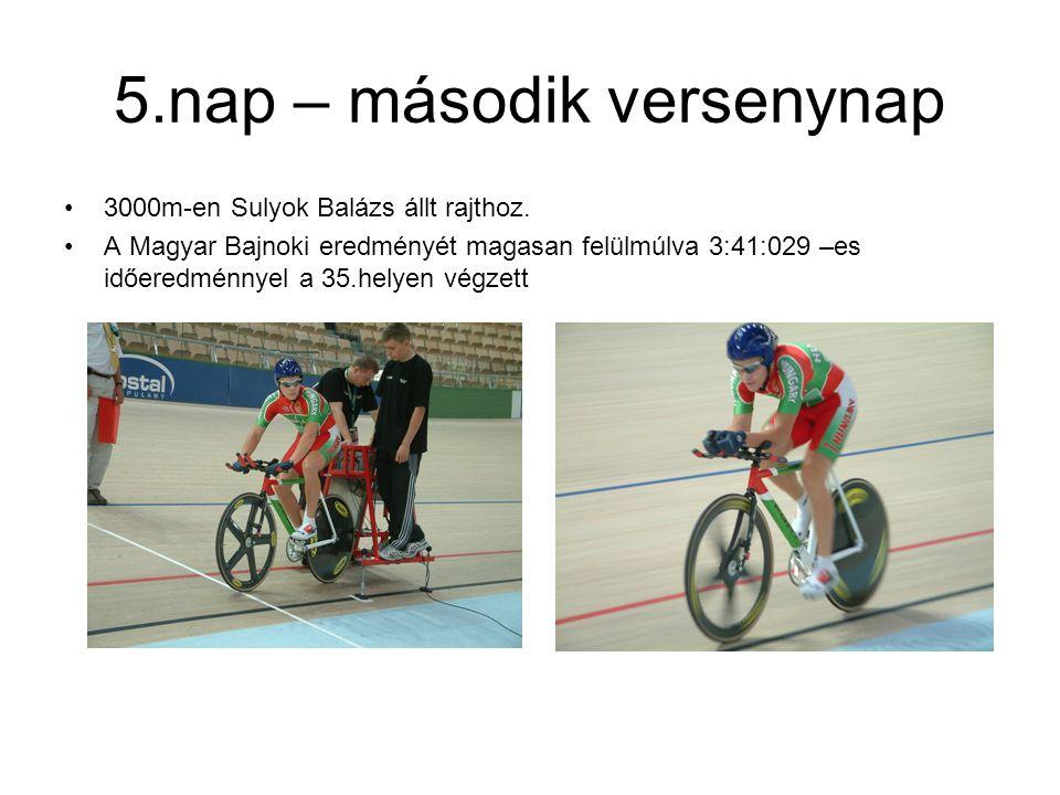 5.nap – második versenynap 3000m-en Sulyok Balázs állt rajthoz. A Magyar Bajnoki eredményét magasan felülmúlva 3:41:029 –es időeredménnyel a 35.helyen