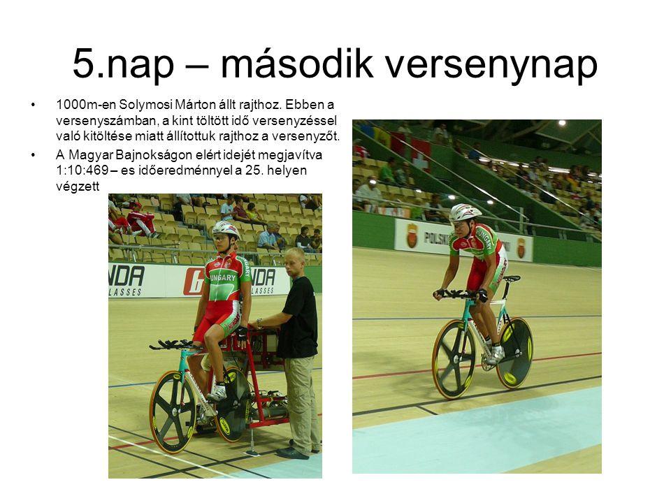 5.nap – második versenynap 1000m-en Solymosi Márton állt rajthoz. Ebben a versenyszámban, a kint töltött idő versenyzéssel való kitöltése miatt állíto