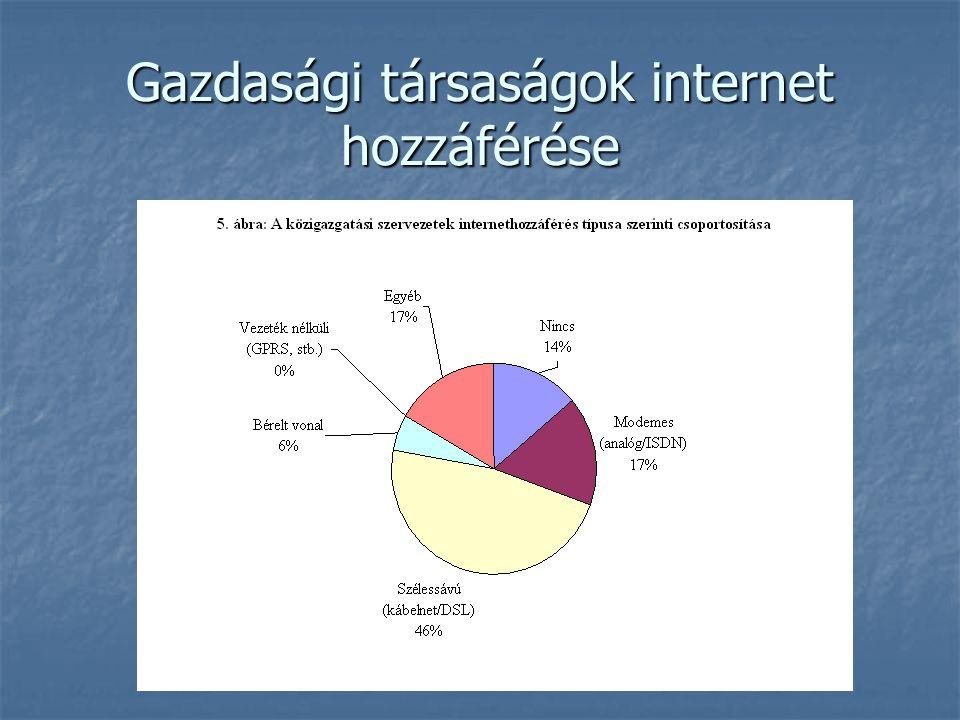 Gazdasági társaságok internet hozzáférése