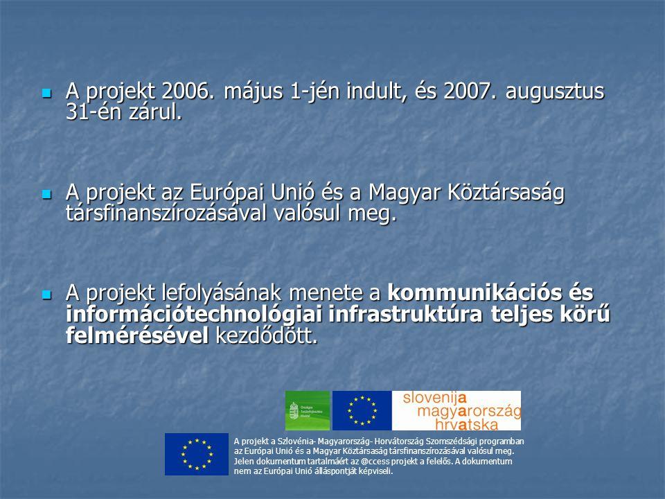 A projekt 2006. május 1-jén indult, és 2007. augusztus 31-én zárul. A projekt 2006. május 1-jén indult, és 2007. augusztus 31-én zárul. A projekt az E