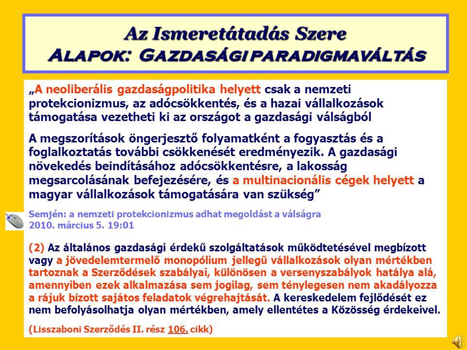 Neoliberalizmus (a Lisszaboni Szerződés alapján) Szent Korona Értékrend 2.Kizárólagos hatáskörbe utalt területek Minden magyar érték a magyar érdeket szolgálja (1) Az Unió kizárólagos hatáskörrel rendelkezik a következő területeken: a) vámunió, b) a belső piac működéséhez szükséges versenyszabályok megállapítása, c) monetáris politika azon tagállamok tekintetében, amelyek hivatalos pénzneme az euro, d) a tengeri biológiai erőforrások megőrzése a közös halászati politika keretében, e) közös kereskedelempolitika.