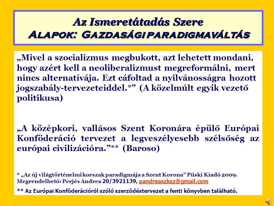 Neoliberalizmus (a Lisszaboni Szerződés alapján) Szent Korona Értékrend 3.
