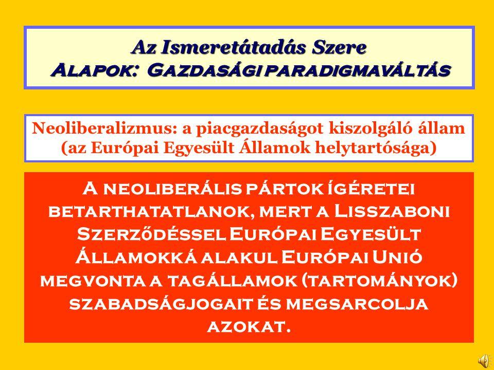 Neoliberalizmus (a Lisszaboni Szerződés alapján) Szent Korona Értékrend 4.Tiltó rendelkezésekKötelezettségek és jogok összhangja A tagállamok között tilos a behozatalra vonatkozó minden mennyiségi korlátozás és azzal azonos hatású intézkedés.