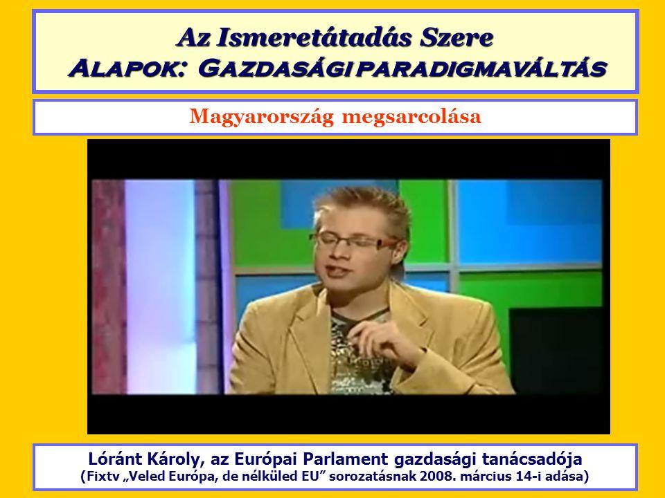 """Magyarország megsarcolása Lóránt Károly, az Európai Parlament gazdasági tanácsadója (Fixtv """"Veled Európa, de nélküled EU"""" sorozatásnak 2008. március 1"""