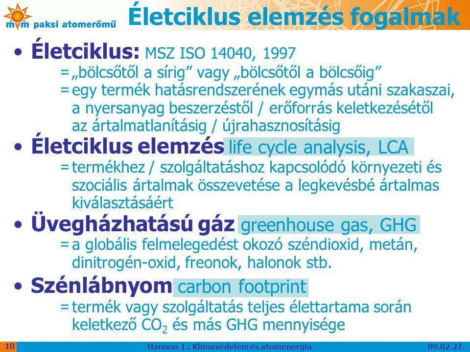 """09.02.27. Hamvas I.: Klímavédelem és atomenergia 10 Életciklus elemzés fogalmak Életciklus: MSZ ISO 14040, 1997 = """"bölcsőtől a sírig"""" vagy """"bölcsőtől"""