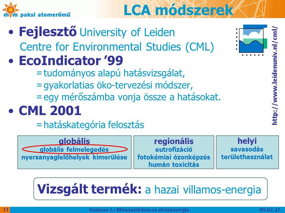 09.02.27. Hamvas I.: Klímavédelem és atomenergia 11 LCA módszerek Fejlesztő University of Leiden Centre for Environmental Studies (CML) EcoIndicator '