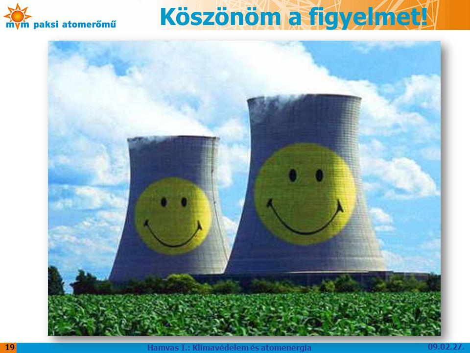 Köszönöm a figyelmet! 09.02.27. Hamvas I.: Klímavédelem és atomenergia 19
