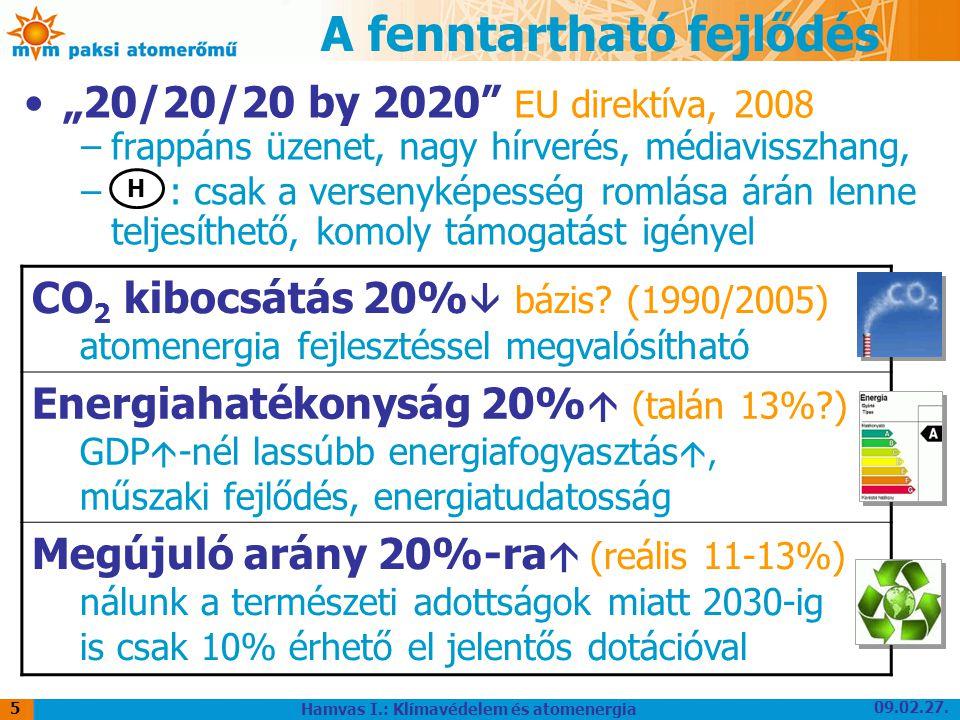 """09.02.27. Hamvas I.: Klímavédelem és atomenergia 5 A fenntartható fejlődés """"20/20/20 by 2020"""" EU direktíva, 2008 –frappáns üzenet, nagy hírverés, médi"""