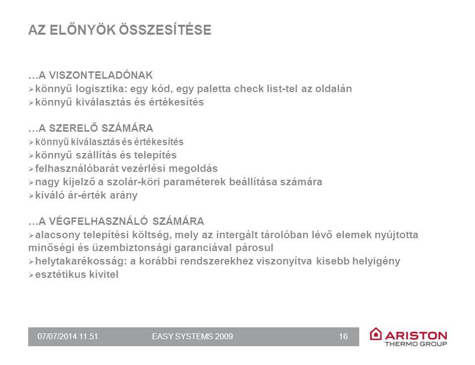 07/07/2014 11.51EASY SYSTEMS 2009 16 AZ ELŐNYÖK ÖSSZESÍTÉSE …A VISZONTELADÓNAK  könnyű logisztika: egy kód, egy paletta check list-tel az oldalán  k