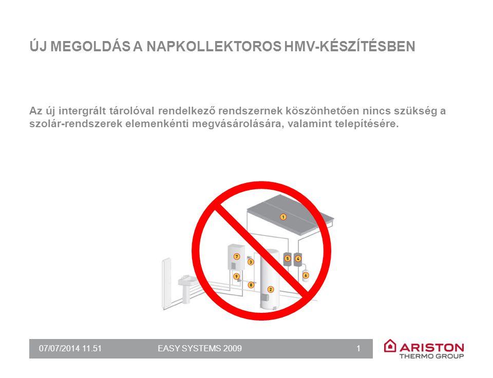 07/07/2014 11.51EASY SYSTEMS 2009 1 ÚJ MEGOLDÁS A NAPKOLLEKTOROS HMV-KÉSZÍTÉSBEN Az új intergrált tárolóval rendelkező rendszernek köszönhetően nincs