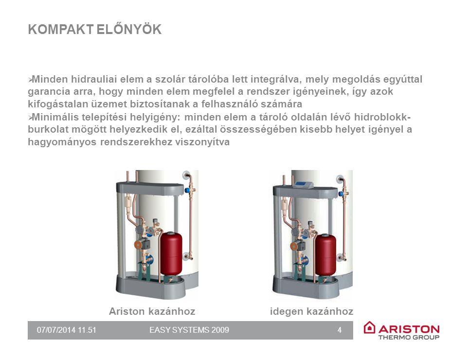 07/07/2014 11.51EASY SYSTEMS 2009 4 KOMPAKT ELŐNYÖK  Minden hidrauliai elem a szolár tárolóba lett integrálva, mely megoldás egyúttal garancia arra,