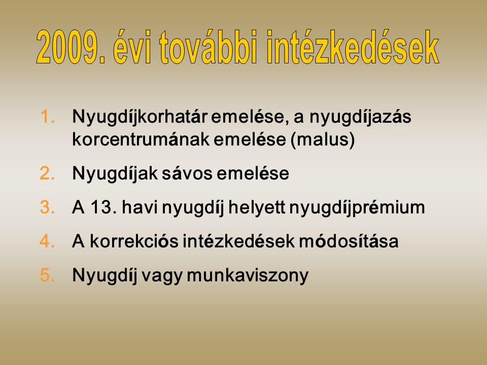1.Nyugd í jkorhat á r emel é se, a nyugd í jaz á s korcentrum á nak emel é se (malus) 2.Nyugd í jak s á vos emel é se 3.A 13.