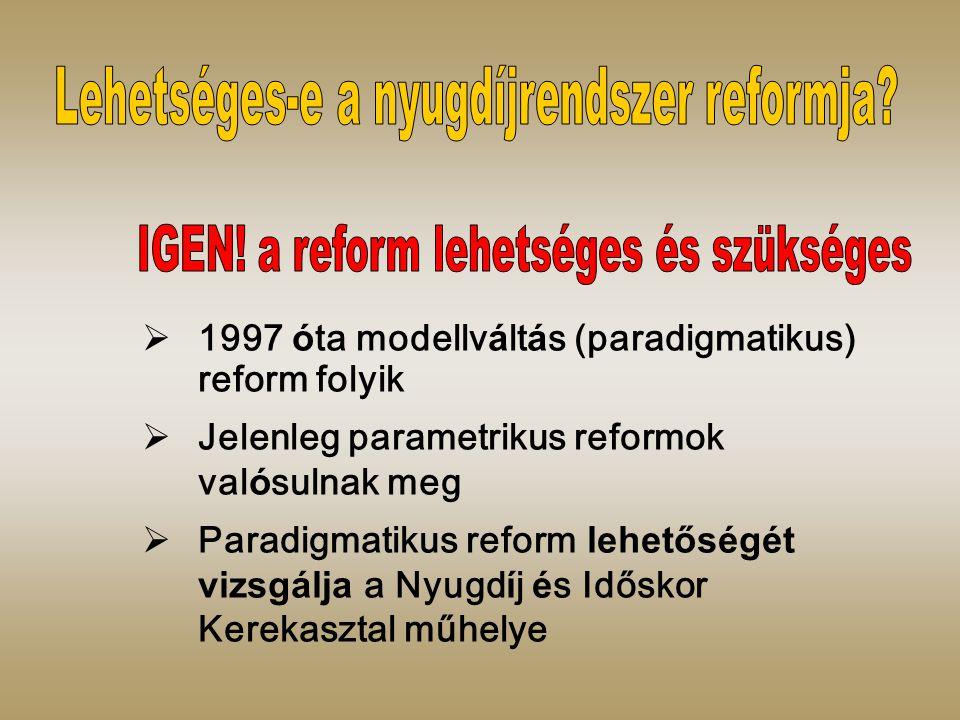  1997 ó ta modellv á lt á s (paradigmatikus) reform folyik  Jelenleg parametrikus reformok val ó sulnak meg  Paradigmatikus reform lehetőségét vizsgálja a Nyugd í j é s Időskor Kerekasztal műhelye