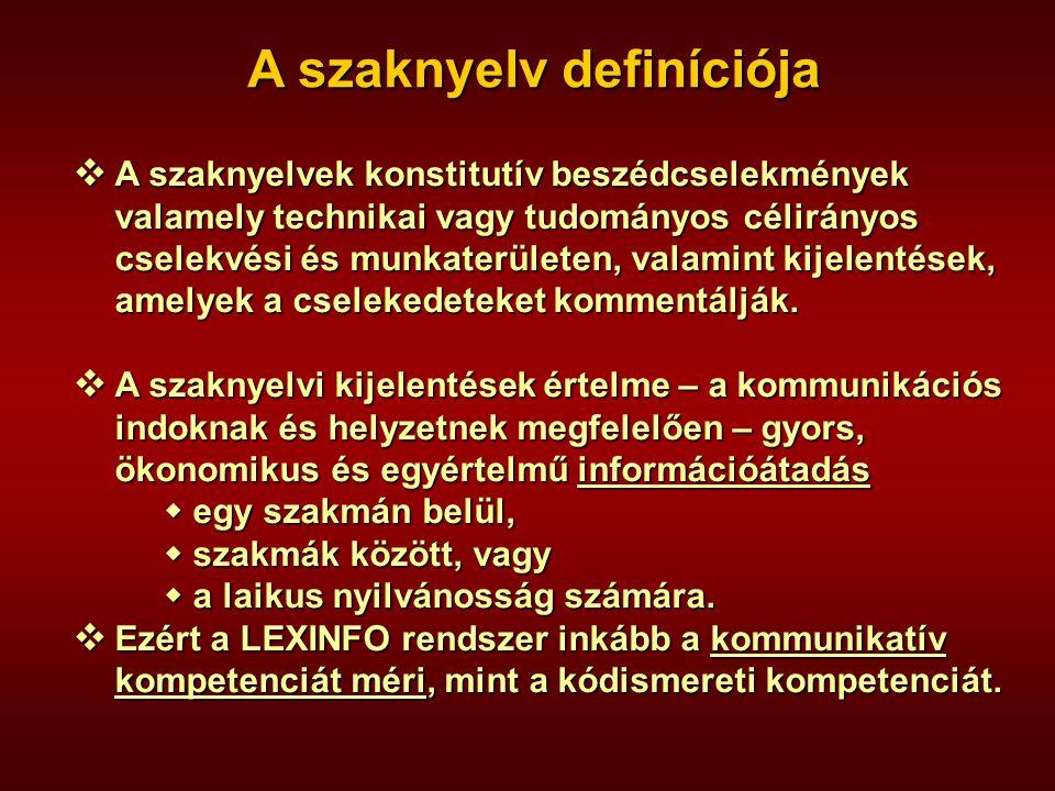 A szaknyelv definíciója  A szaknyelvek konstitutív beszédcselekmények valamely technikai vagy tudományos célirányos cselekvési és munkaterületen, val