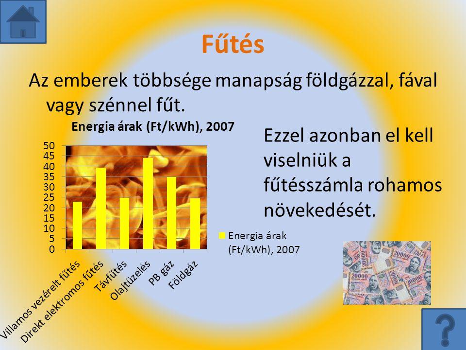 Fűtés Az emberek többsége manapság földgázzal, fával vagy szénnel fűt. Ezzel azonban el kell viselniük a fűtésszámla rohamos növekedését.