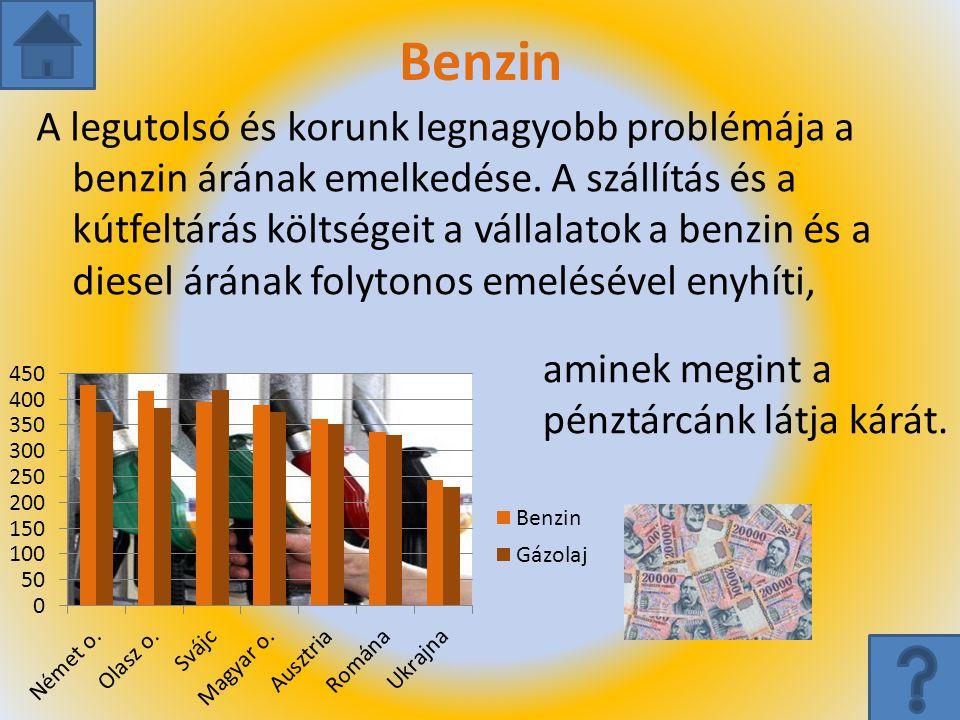 Benzin A legutolsó és korunk legnagyobb problémája a benzin árának emelkedése. A szállítás és a kútfeltárás költségeit a vállalatok a benzin és a dies