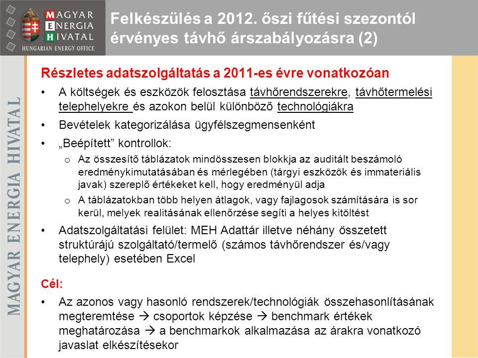 Részletes adatszolgáltatás a 2011-es évre vonatkozóan A költségek és eszközök felosztása távhőrendszerekre, távhőtermelési telephelyekre és azokon bel