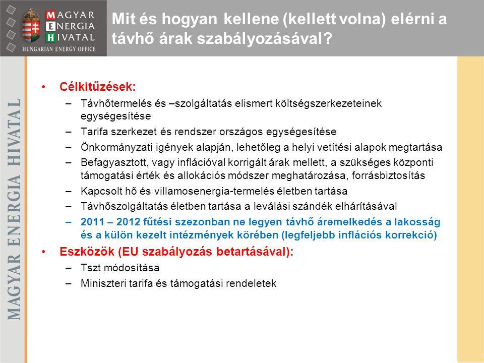 """Részletes adatszolgáltatás a 2011-es évre vonatkozóan A költségek és eszközök felosztása távhőrendszerekre, távhőtermelési telephelyekre és azokon belül különböző technológiákra Bevételek kategorizálása ügyfélszegmensenként """"Beépített kontrollok: o Az összesítő táblázatok mindösszesen blokkja az auditált beszámoló eredménykimutatásában és mérlegében (tárgyi eszközök és immateriális javak) szereplő értékeket kell, hogy eredményül adja o A táblázatokban több helyen átlagok, vagy fajlagosok számítására is sor kerül, melyek realitásának ellenőrzése segíti a helyes kitöltést Adatszolgáltatási felület: MEH Adattár illetve néhány összetett struktúrájú szolgáltató/termelő (számos távhőrendszer és/vagy telephely) esetében Excel Cél: Az azonos vagy hasonló rendszerek/technológiák összehasonlításának megteremtése  csoportok képzése  benchmark értékek meghatározása  a benchmarkok alkalmazása az árakra vonatkozó javaslat elkészítésekor Felkészülés a 2012."""
