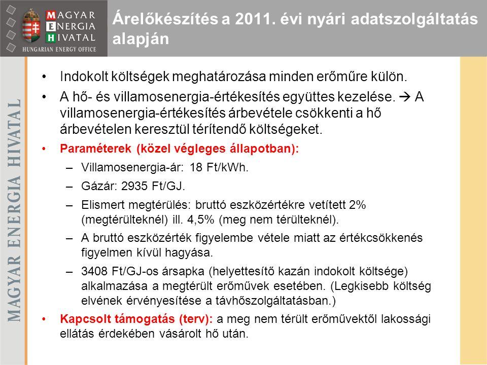 Árelőkészítés a 2011. évi nyári adatszolgáltatás alapján Indokolt költségek meghatározása minden erőműre külön. A hő- és villamosenergia-értékesítés e