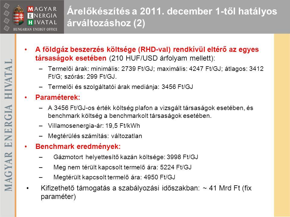 Árelőkészítés a 2011. december 1-től hatályos árváltozáshoz (2) A földgáz beszerzés költsége (RHD-val) rendkívül eltérő az egyes társaságok esetében (
