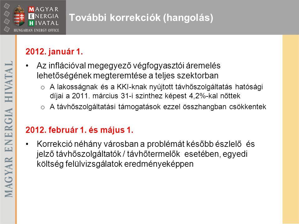2012. január 1. Az inflációval megegyező végfogyasztói áremelés lehetőségének megteremtése a teljes szektorban o A lakosságnak és a KKI-knak nyújtott