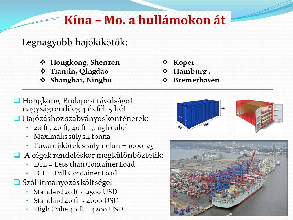 """ Hongkong-Budapest távolságot nagyságrendileg 4 és fél-5 hét  Hajózáshoz szabványos konténerek: 20 ft, 40 ft, 40 ft - """"high cube"""" Maximális súly 24"""