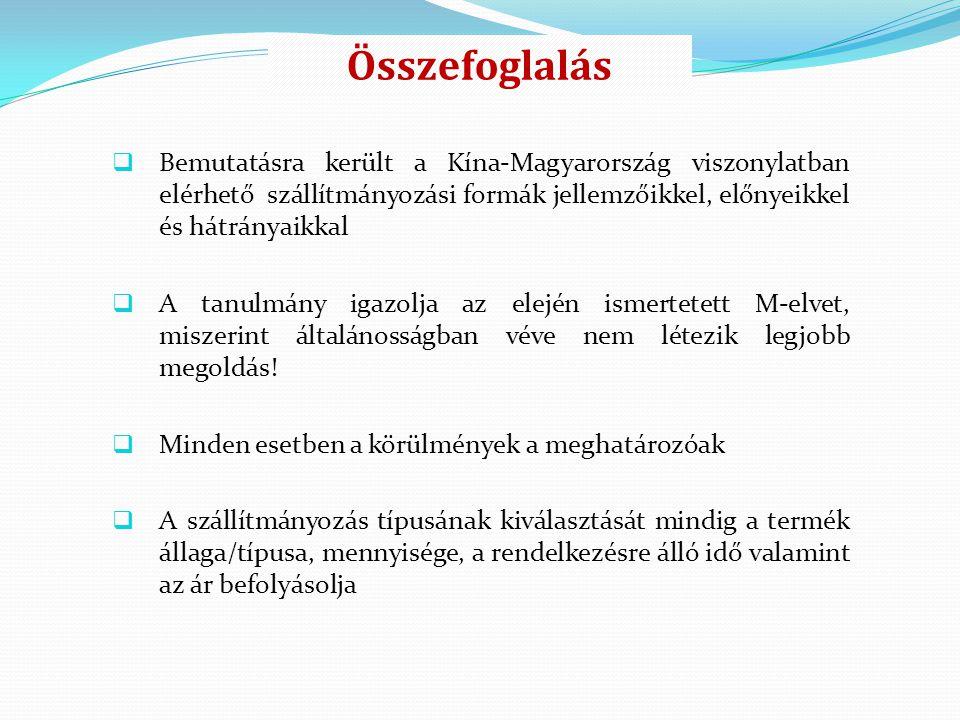 Összefoglalás  Bemutatásra került a Kína-Magyarország viszonylatban elérhető szállítmányozási formák jellemzőikkel, előnyeikkel és hátrányaikkal  A