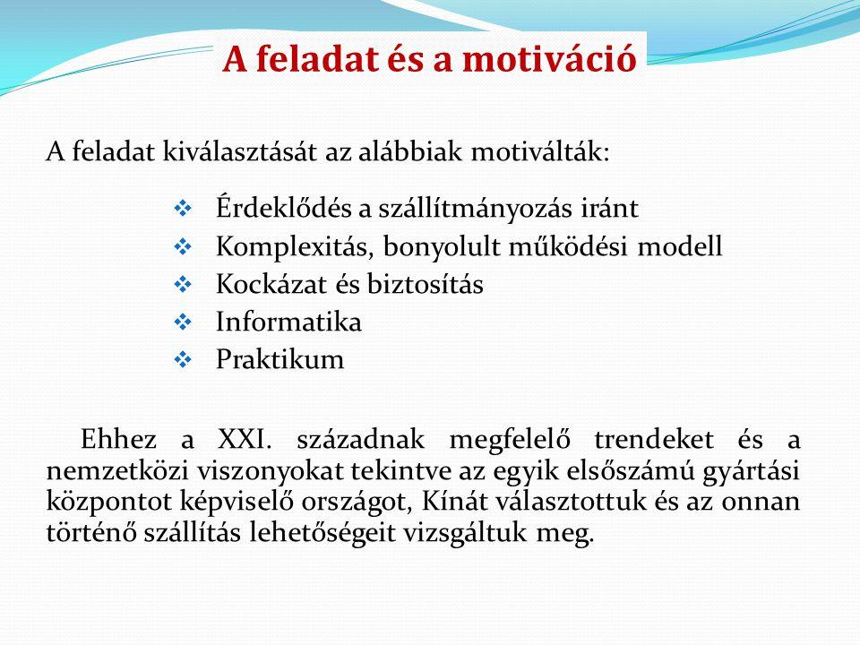 A feladat és a motiváció A feladat kiválasztását az alábbiak motiválták:  Érdeklődés a szállítmányozás iránt  Komplexitás, bonyolult működési modell