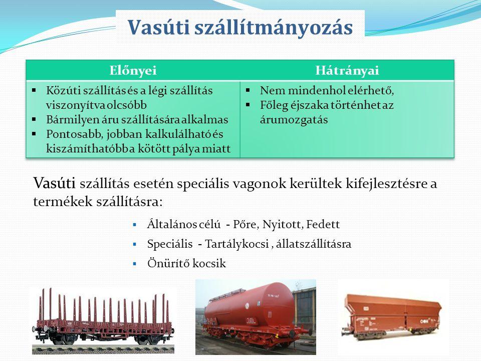 Vasúti szállítás esetén speciális vagonok kerültek kifejlesztésre a termékek szállításra:  Általános célú - Pőre, Nyitott, Fedett  Speciális - Tartá