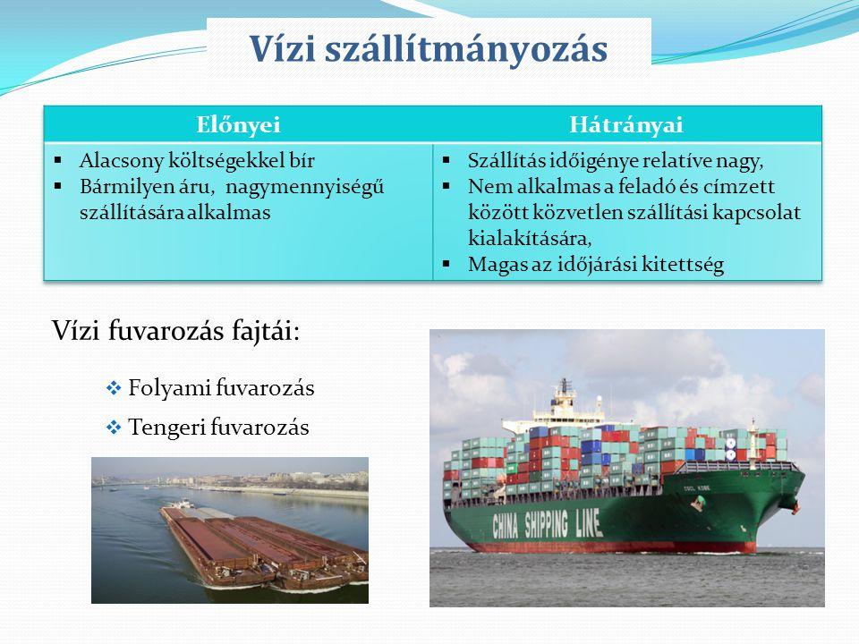 Vízi fuvarozás fajtái:  Folyami fuvarozás  Tengeri fuvarozás Vízi szállítmányozás