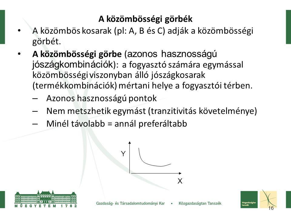 16 A közömbösségi görbék A közömbös kosarak (pl: A, B és C) adják a közömbösségi görbét. A közömbösségi görbe ( azonos hasznosságú jószágkombinációk )