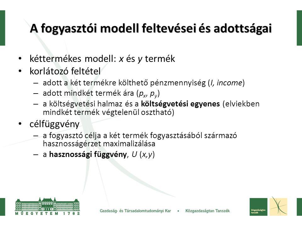 A fogyasztói modell feltevései és adottságai kéttermékes modell: x és y termék korlátozó feltétel – adott a két termékre költhető pénzmennyiség (I, in