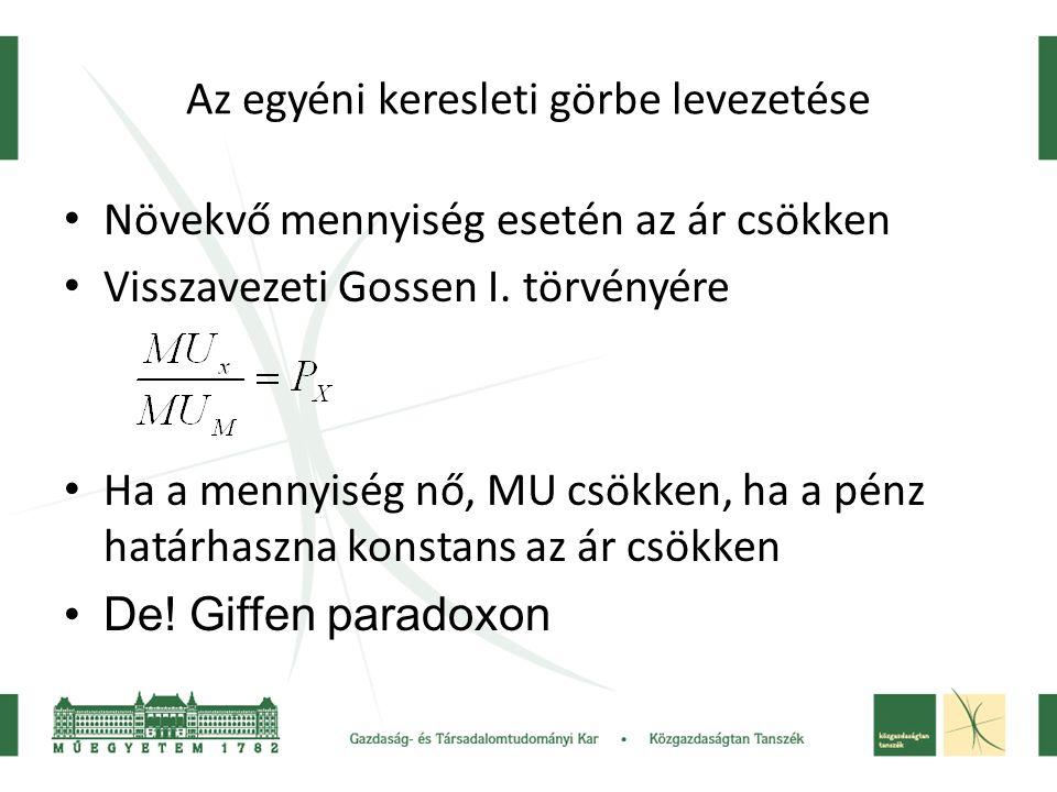 A hasznossági függvény U=f(X,Y) Y X U A B hasznossági pontok YBYB YAYA XAXA XBXB UAUA UBUB