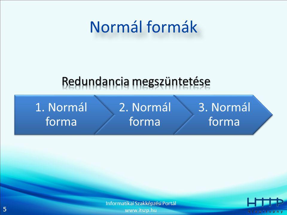 5 Informatikai Szakképzési Portál www.itszp.hu Normál formák 1.
