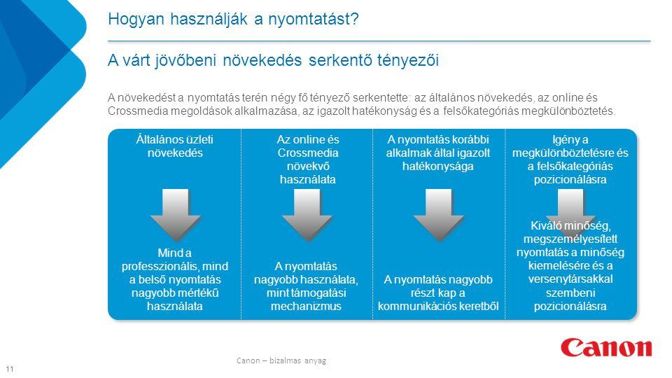 A növekedést a nyomtatás terén négy fő tényező serkentette: az általános növekedés, az online és Crossmedia megoldások alkalmazása, az igazolt hatékonyság és a felsőkategóriás megkülönböztetés.