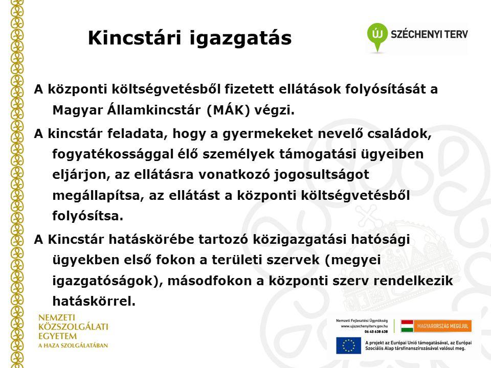 Kincstári igazgatás A központi költségvetésből fizetett ellátások folyósítását a Magyar Államkincstár (MÁK) végzi. A kincstár feladata, hogy a gyermek