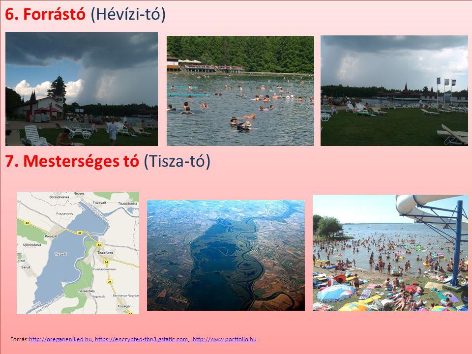 6. Forrástó (Hévízi-tó) 7. Mesterséges tó (Tisza-tó) 6. Forrástó (Hévízi-tó) 7. Mesterséges tó (Tisza-tó) Forrás:http://oreganeniked.hu, https://encry