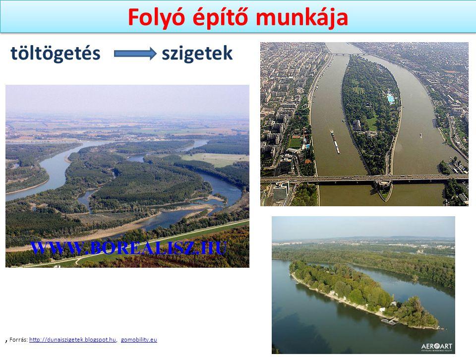 Folyó építő munkája, Forrás: http://dunaiszigetek.blogspot.hu, gomobility.euhttp://dunaiszigetek.blogspot.hugomobility.eu töltögetés szigetek