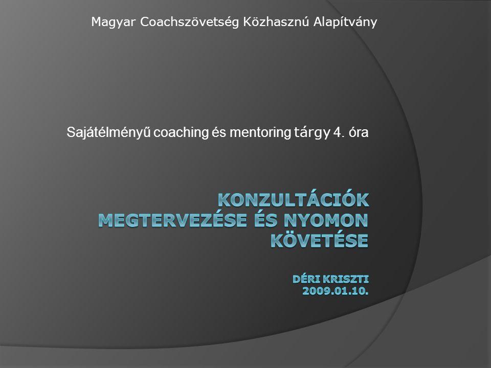 Sajátélményű coaching és mentoring tárgy 4. óra Magyar Coachszövetség Közhasznú Alapítvány