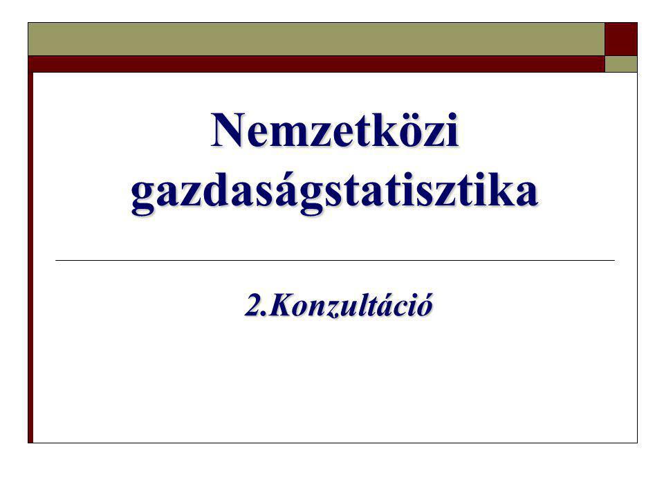 Nemzetközi gazdaságstatisztika 2.Konzultáció 2.Konzultáció