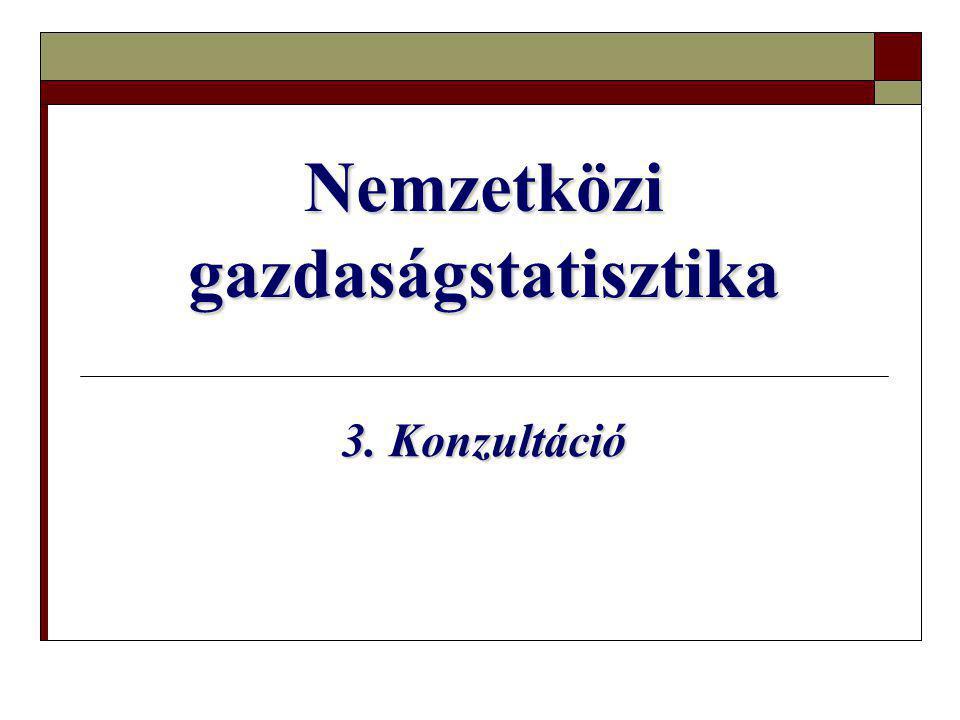Nemzetközi gazdaságstatisztika 3. Konzultáció