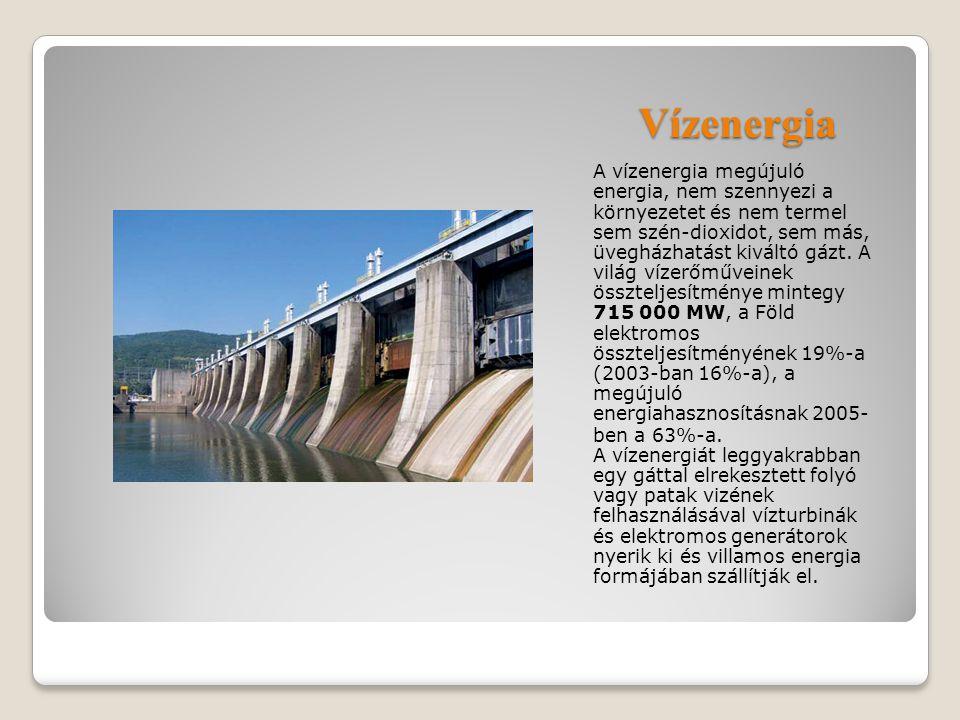 Vízenergia A vízenergia megújuló energia, nem szennyezi a környezetet és nem termel sem szén-dioxidot, sem más, üvegházhatást kiváltó gázt. A világ ví