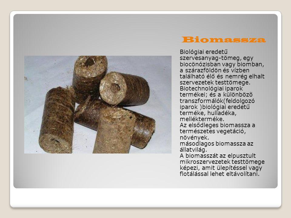 Biomassza Biológiai eredetű szervesanyag-tömeg, egy biocönózisban vagy biomban, a szárazföldön és vízben található élő és nemrég elhalt szervezetek te