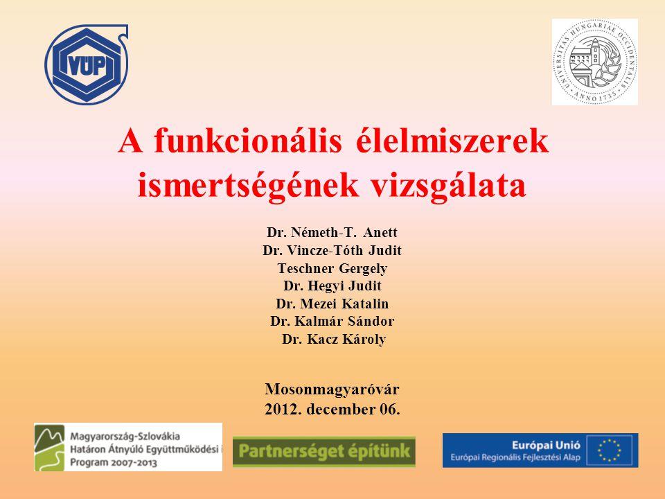 A funkcionális élelmiszerek ismertségének vizsgálata Dr. Németh-T. Anett Dr. Vincze-Tóth Judit Teschner Gergely Dr. Hegyi Judit Dr. Mezei Katalin Dr.