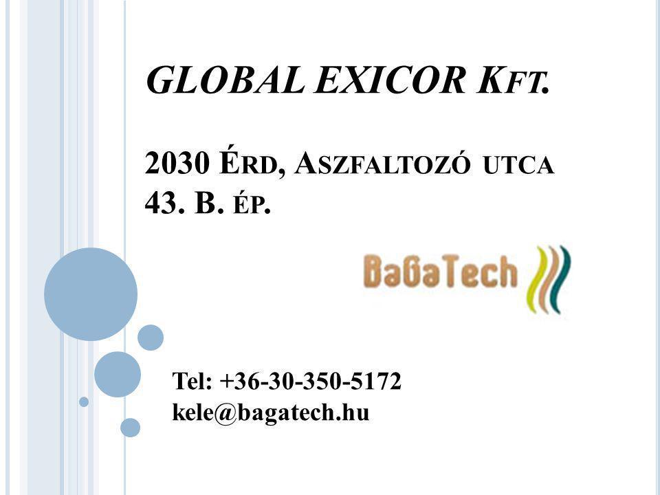 GLOBAL EXICOR K FT. 2030 É RD, A SZFALTOZÓ UTCA 43. B. ÉP. Tel: +36-30-350-5172 kele@bagatech.hu