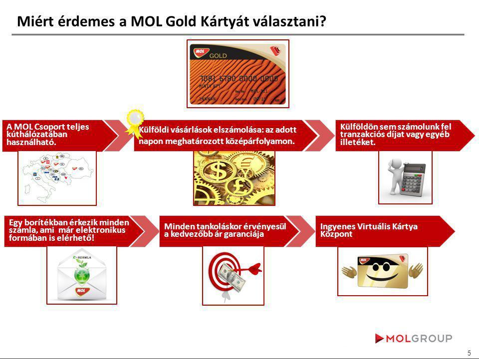 Miért érdemes a MOL Gold Kártyát választani. A MOL Csoport teljes kúthálózatában használható.