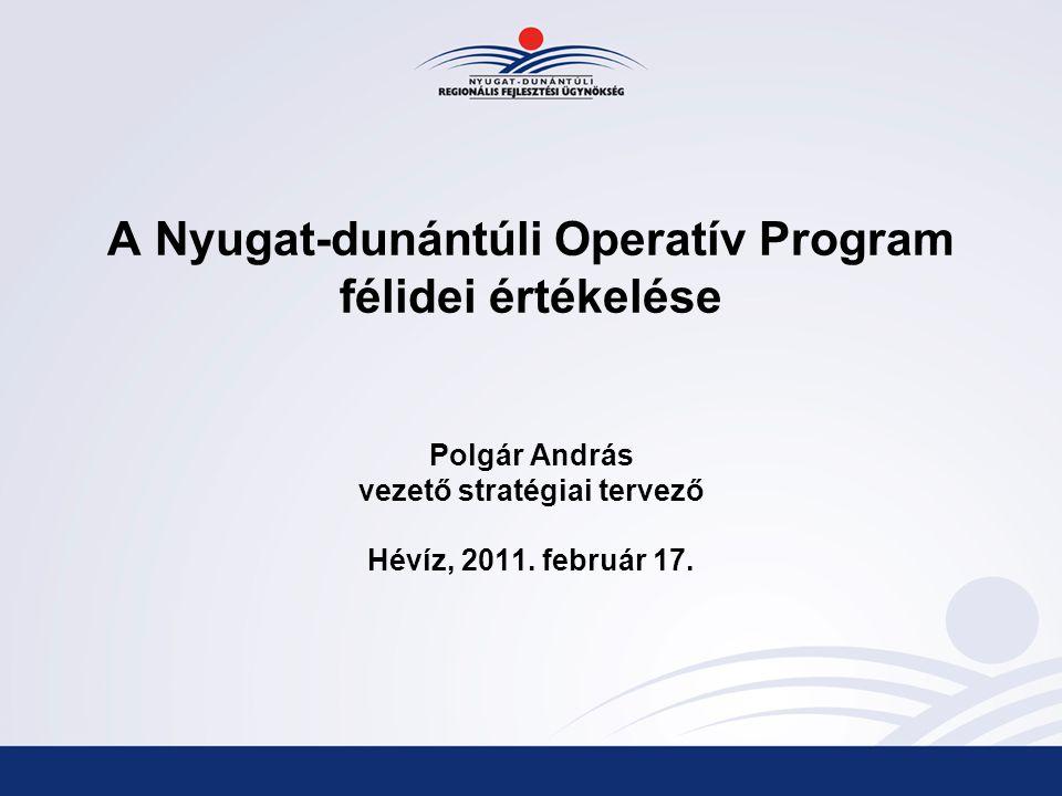 A Nyugat-dunántúli Operatív Program félidei értékelése Polgár András vezető stratégiai tervező Hévíz, 2011.