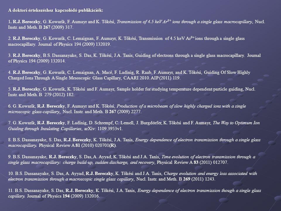 A doktori értekezéshez kapcsolódó publikációk: 1. R.J. Bereczky, G. Kowarik, F. Aumayr and K. Tőkési, Transmission of 4.5 keV Ar 9+ ions through a sin